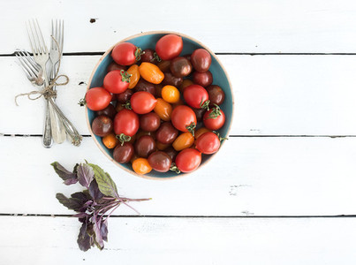 Cherry tomatoes in blue ceramic bowl  vintage silverware and fresh basil leaves on rustic white wooden backdrop  top view