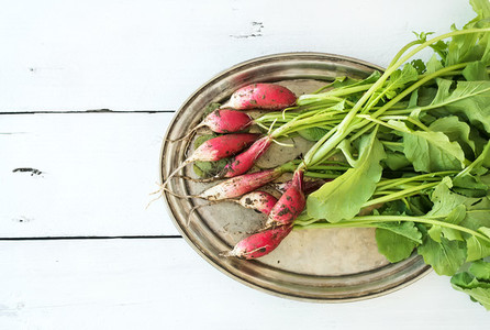 Bunch of fresh dirty garden radishes on vintage metal tray over rustic white wooden backdrop  top view