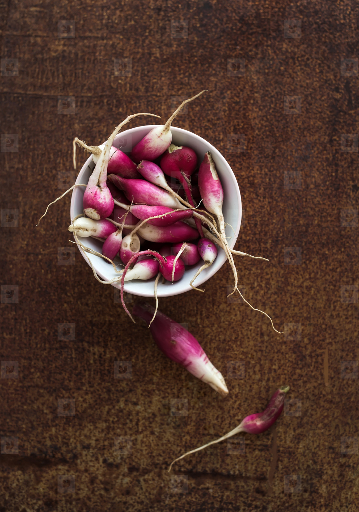 Bowl of fresh garden radishes on rusty grunge metal surface  top view