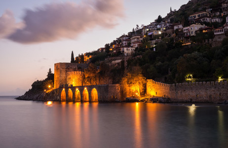Evening view of harbour  fortress and ancient shipyard in Alanya  Turkey