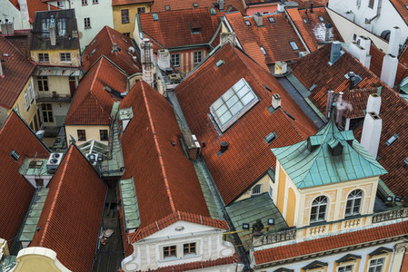 Red tile roofs of Prague  Czech Republic  in the old city center