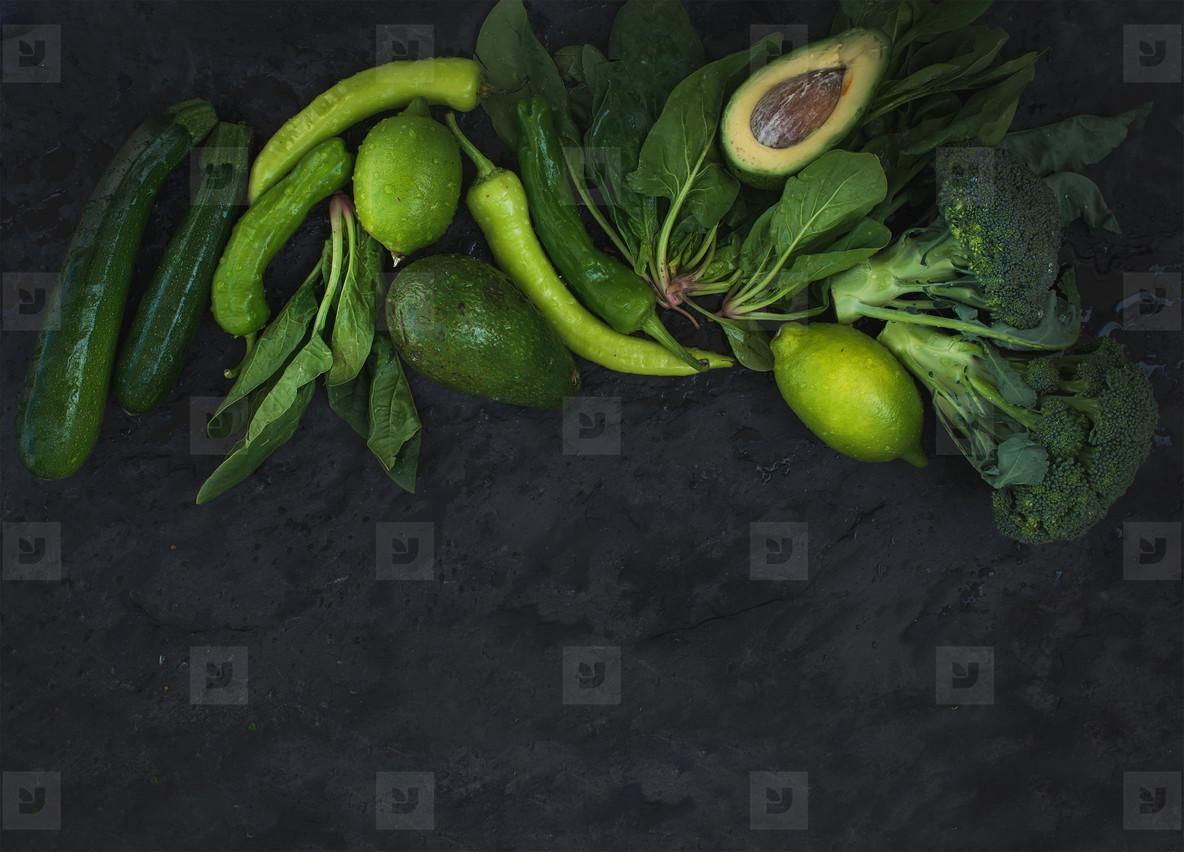 Raw green vegetables set