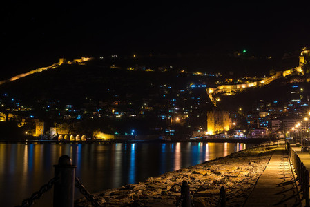 Night view of harbour  fortress and ancient shipyard in Alanya  Turkey