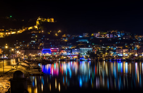 Night view of harbour  fortress and night lights in Alanya  Turkey