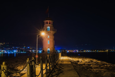 Lighthouse in the port of Alanya at night