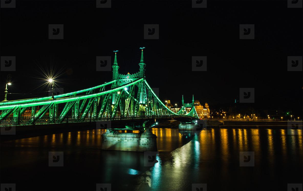 Night view of Liberty Bridge in Budapest  Hungary