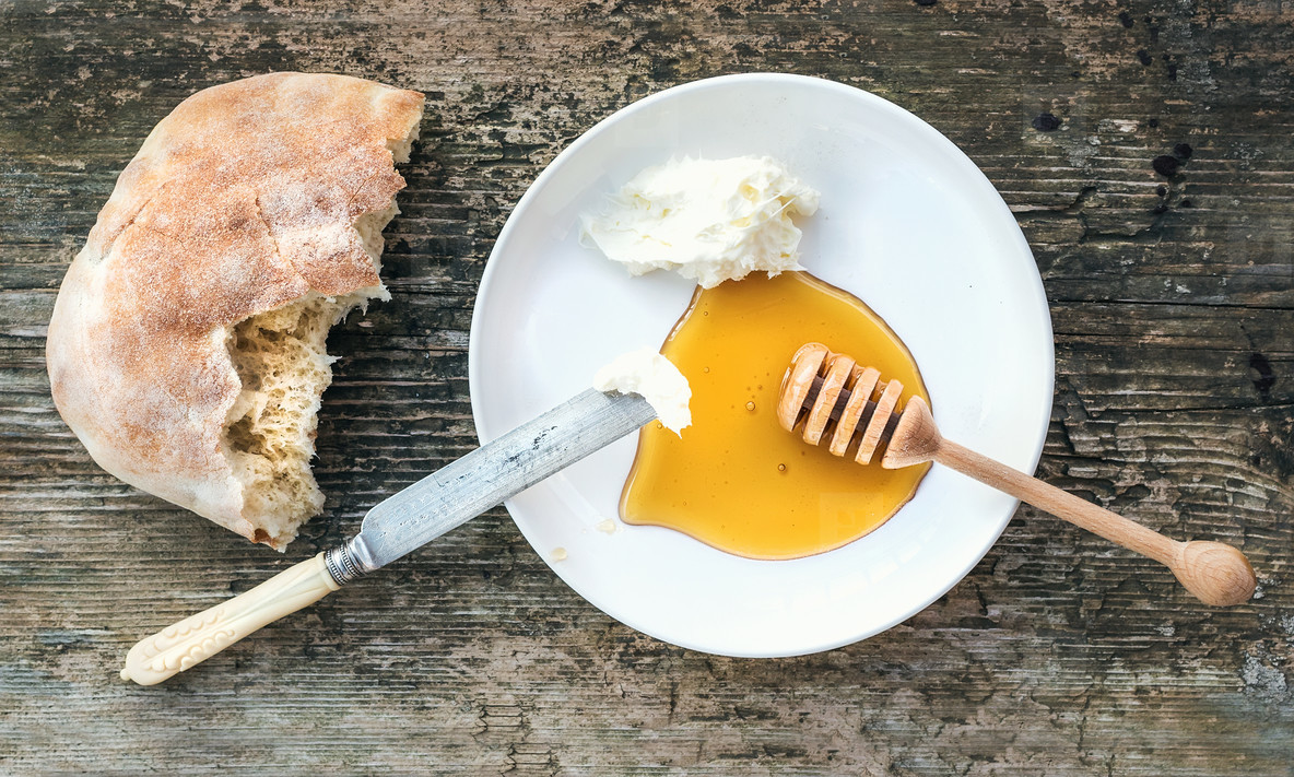 Tradirional Balkan breakfast set  kaymak  butter cream   flatbre