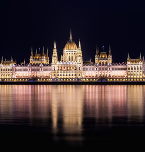 The building of the Budapest Parlament at night from the Buda co