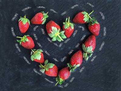 Saint Valentines day greeting berry set fresh garden strawberr