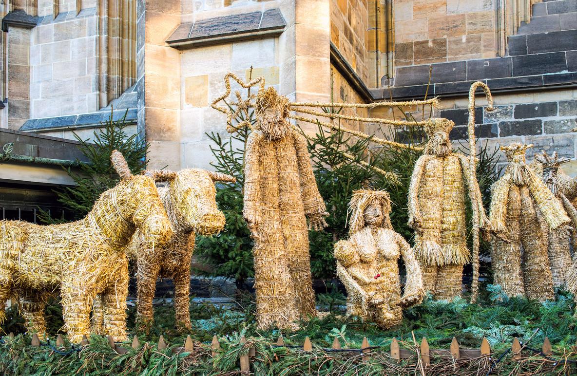 Straw betlem near Saint Vitus Cathedral in Prague  Czech Republi