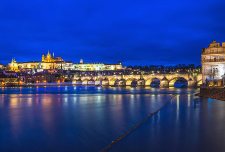Evening view of the Prague castle Charles bridge and the Vltava