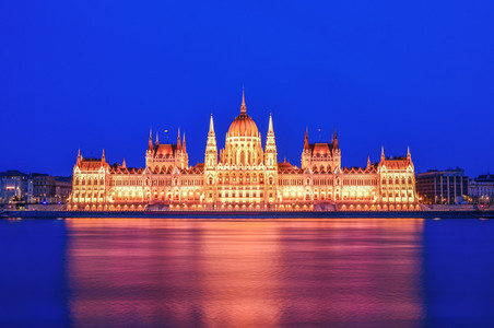 The historical building of Hungarian Parliament during the blue