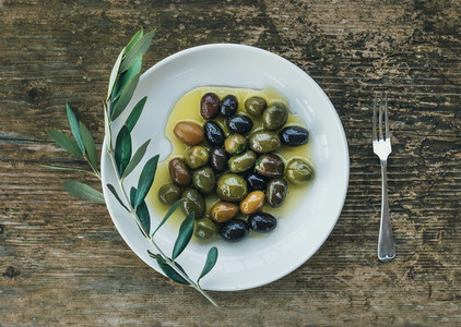 A plate of Mediterranean olives in olive oil with a branch of ol