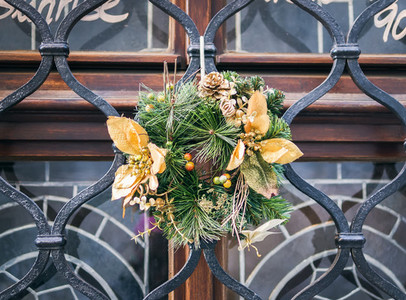 Christmas wreath on a window bar
