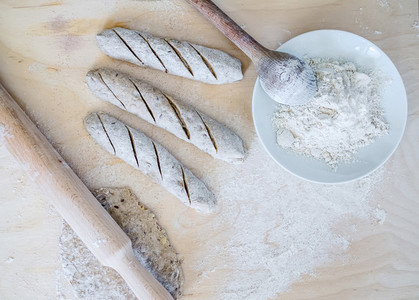 Homemade baguette cooking process  full grane dough  a rolling p
