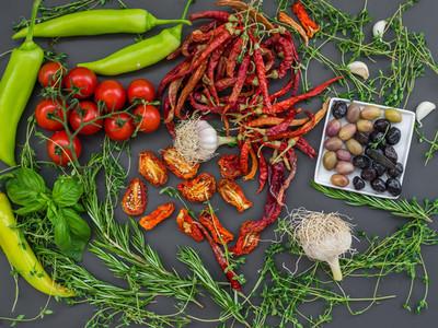 Mediterranean vegetable set on a dark background