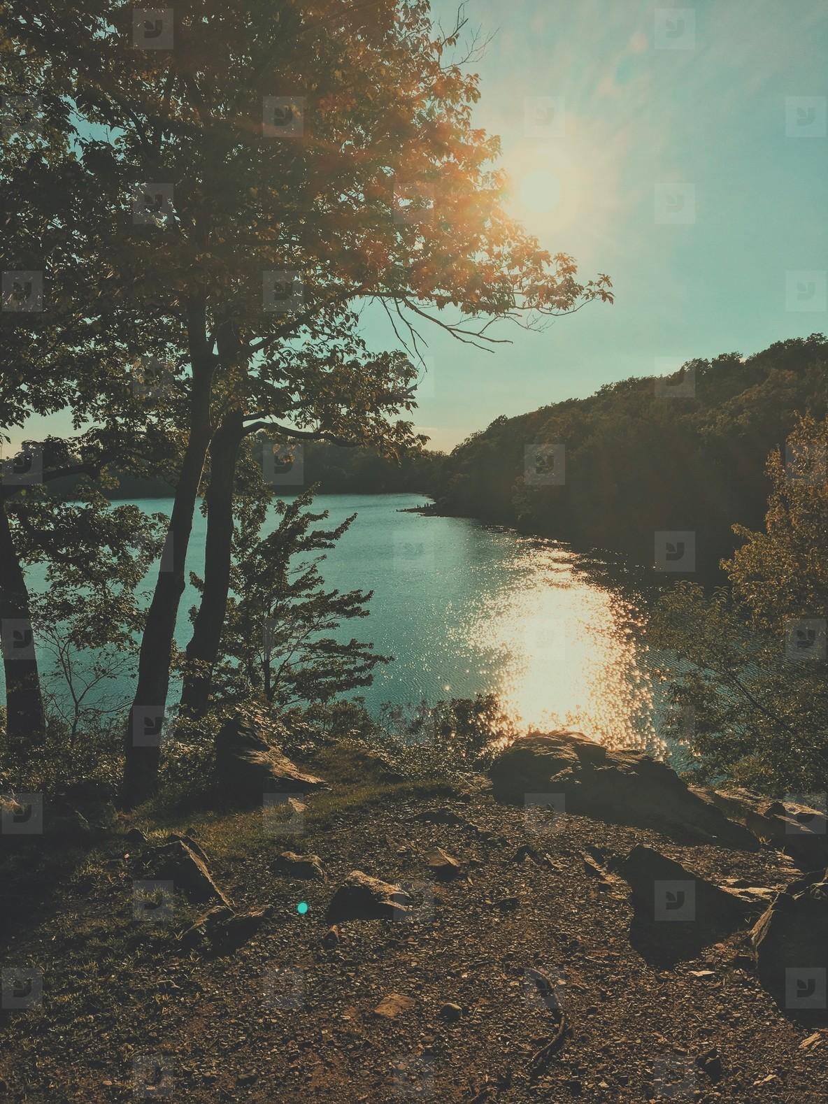 Summer sunset lake