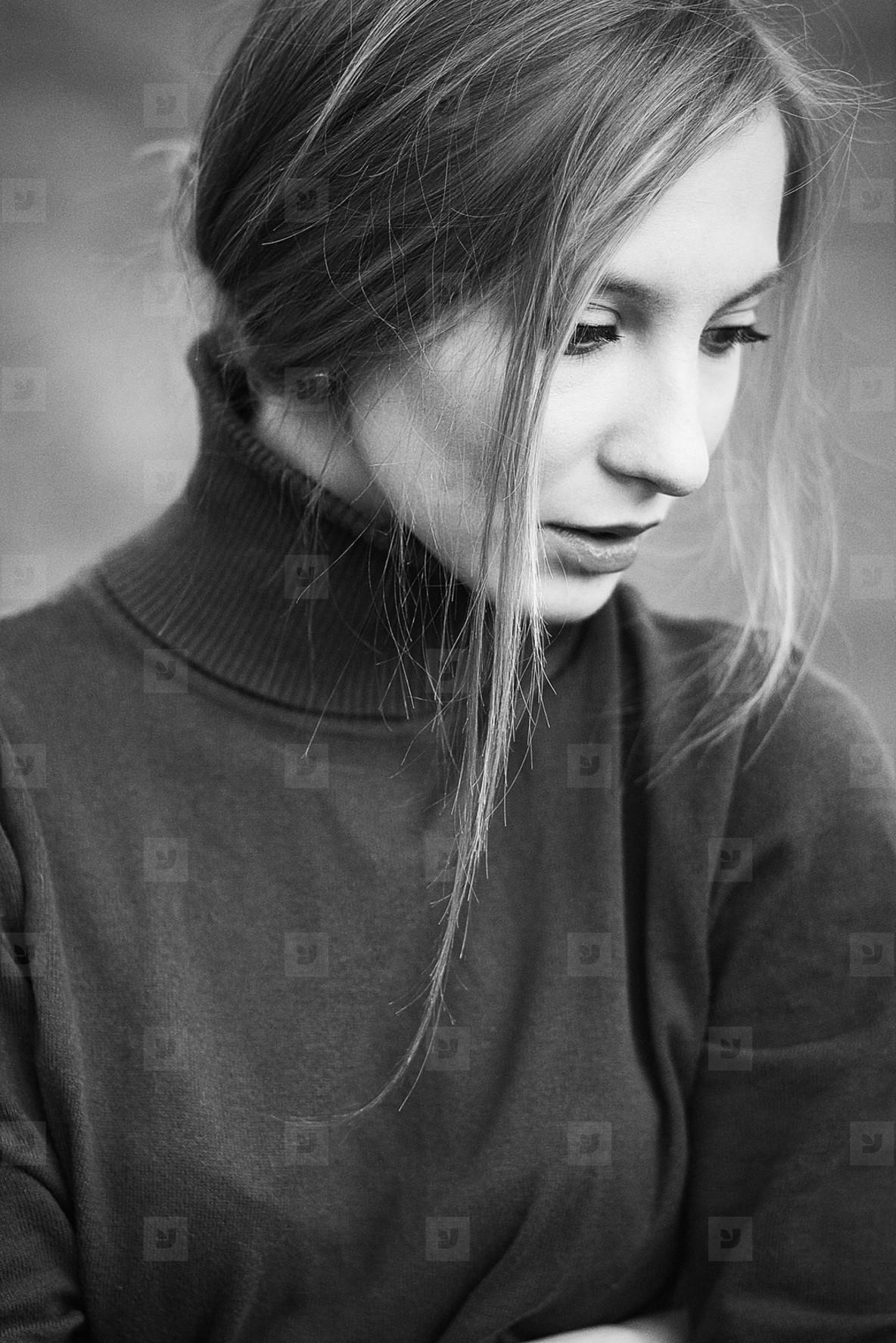 Woman in Black   White