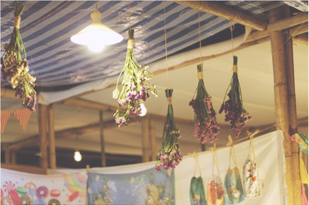 Dry flowers hanging on ceiling