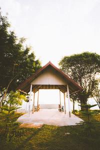 Pavilion with sunset light