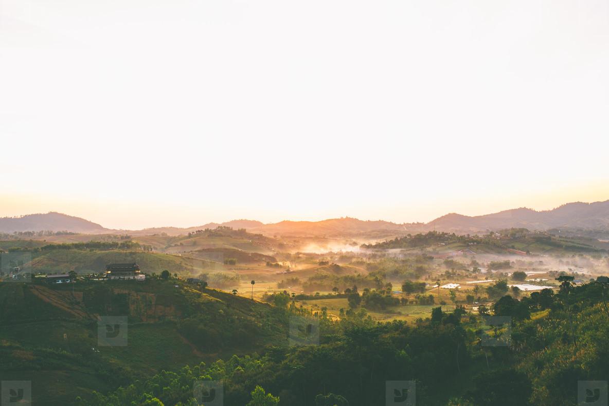 Morning in mountain village  01