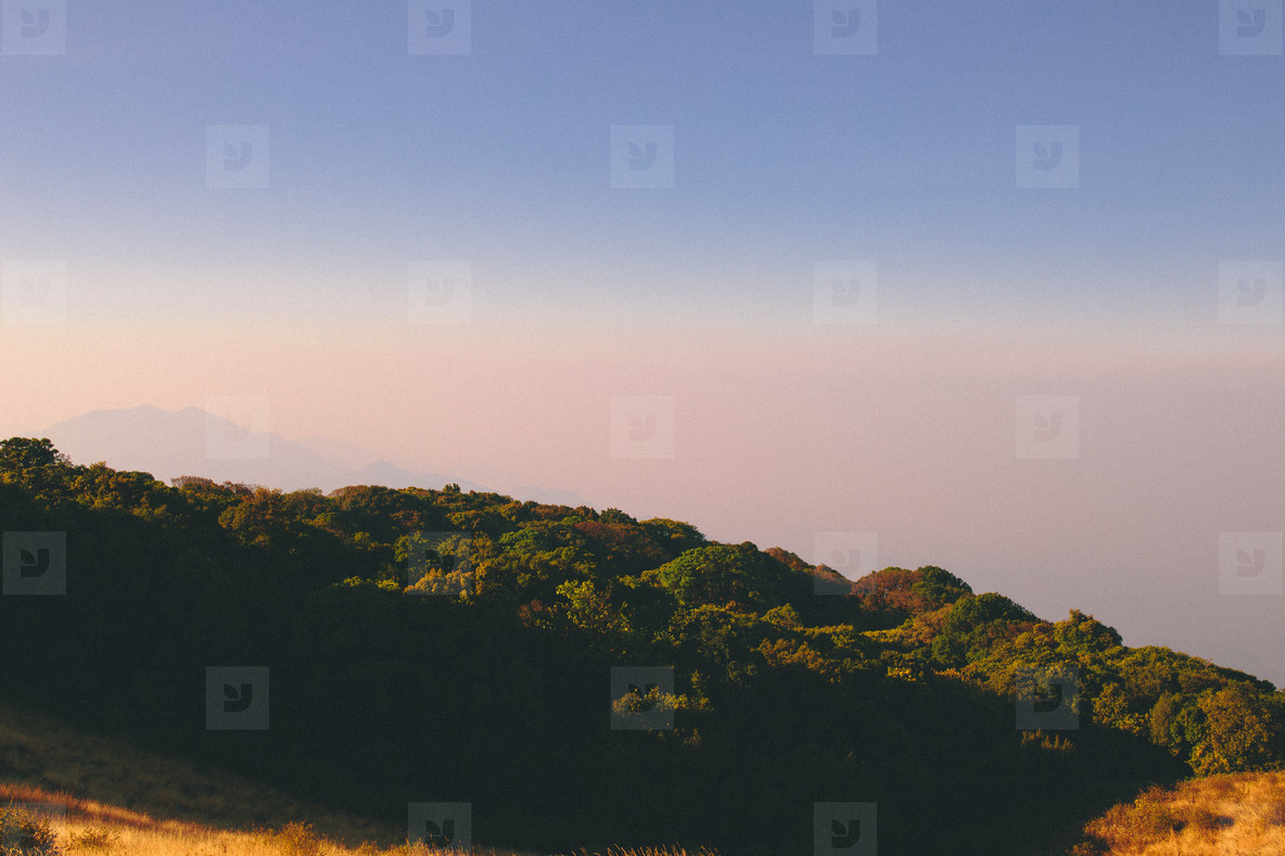 Mountain view with blue sky