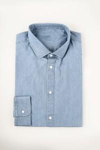 blue denim shirt with a plain ba