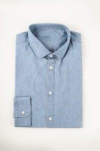 blue denim shirt with a plain ba