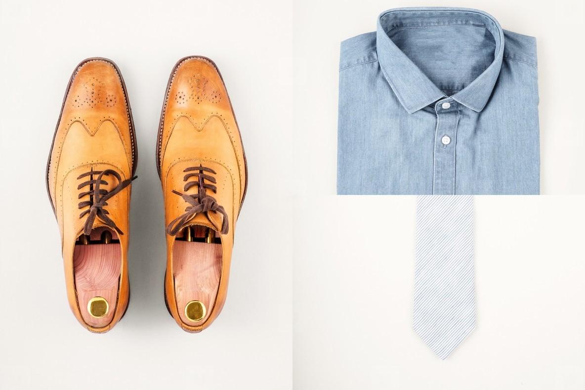 Mens fashionan set   shoes  shirt and neck tie
