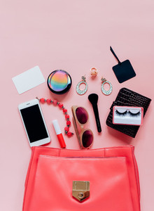 Flat lay of woman bag