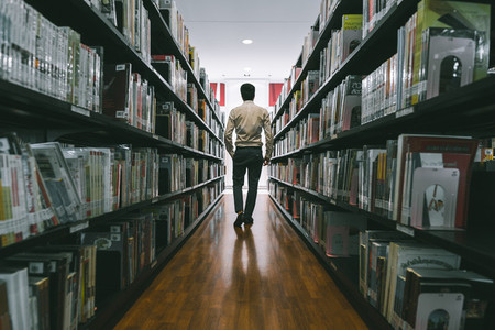 A man in library