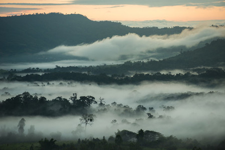 Misty Mountains at sunrise