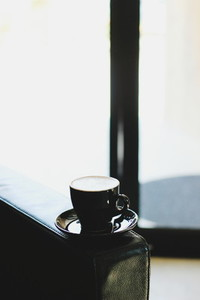 Black cup of coffee
