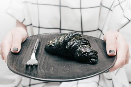 Black charcoal croissant