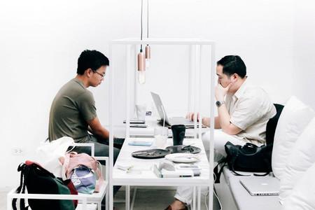 Customer sitting in modern cafe