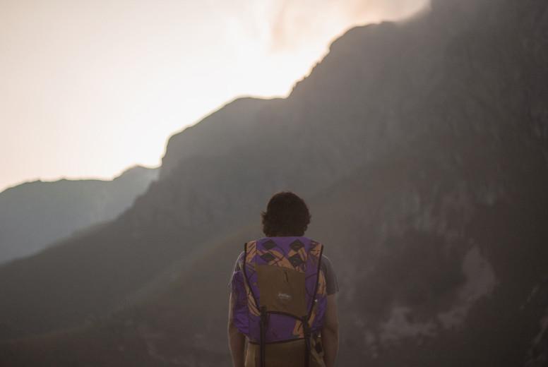 Hiker enjoying the mountain view