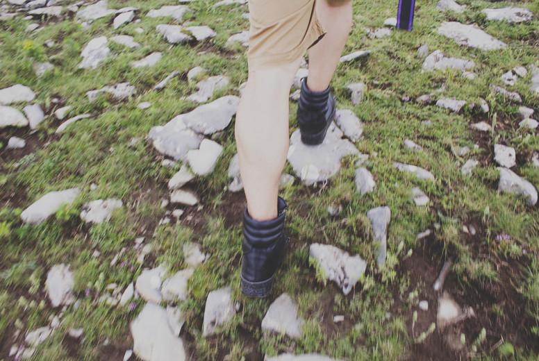 Young man walking in a mountain