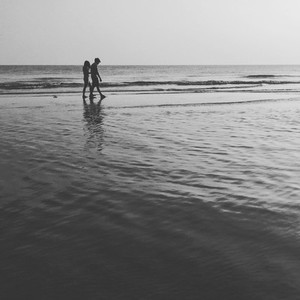 Couple lover walking on beach