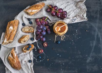 French baguette cut into pieces