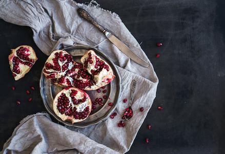 Red ripe peeled pomegranate