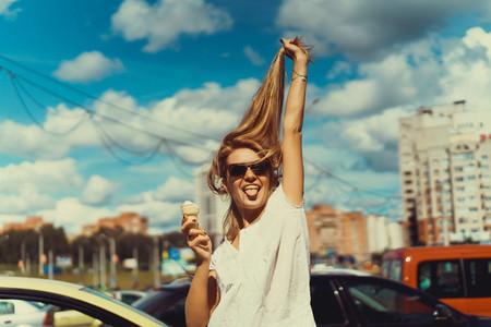 girl eats ice cream