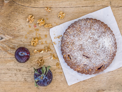 Plum pie with walnuts