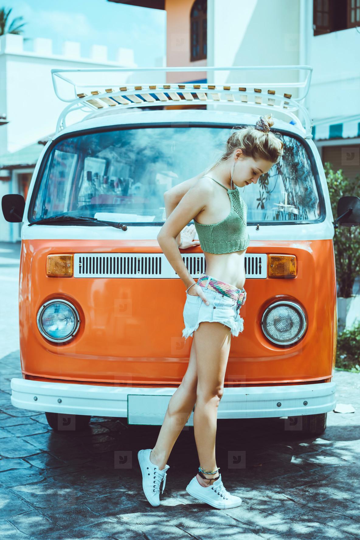 girl posing in the street near c