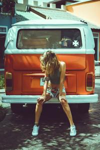 girl posing in the street near