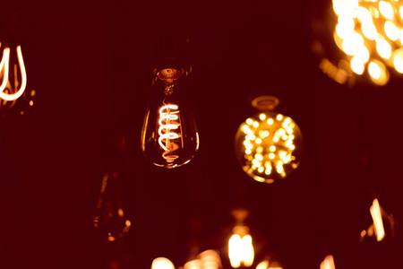 light rom  bulb in cafe