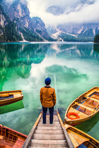 A lonely man at lake Braies