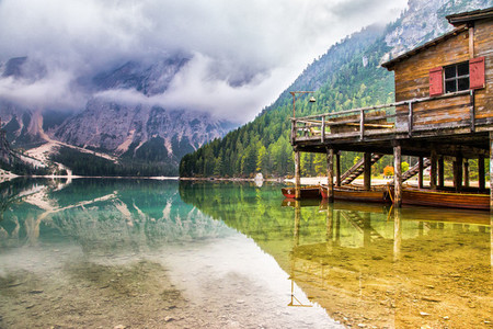 Boathouse at the Braies Lake