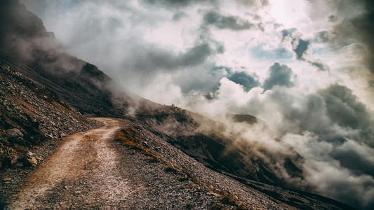 Trail with Mountain in the Mist