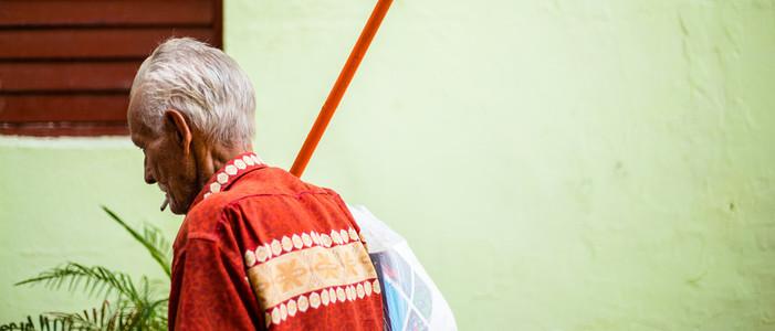 Chinese old man walking