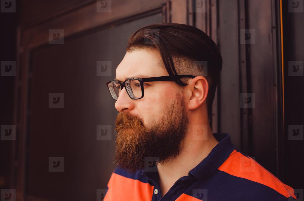 Portrait handsome beard man